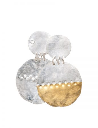 Beaten Disc Earrings - Silver & Gold