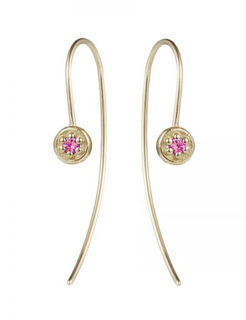Pink Sapphire Wire Earrings - Yellow Gold