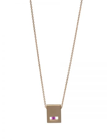 Pink Sapphire Slate Necklace - Matte Gold