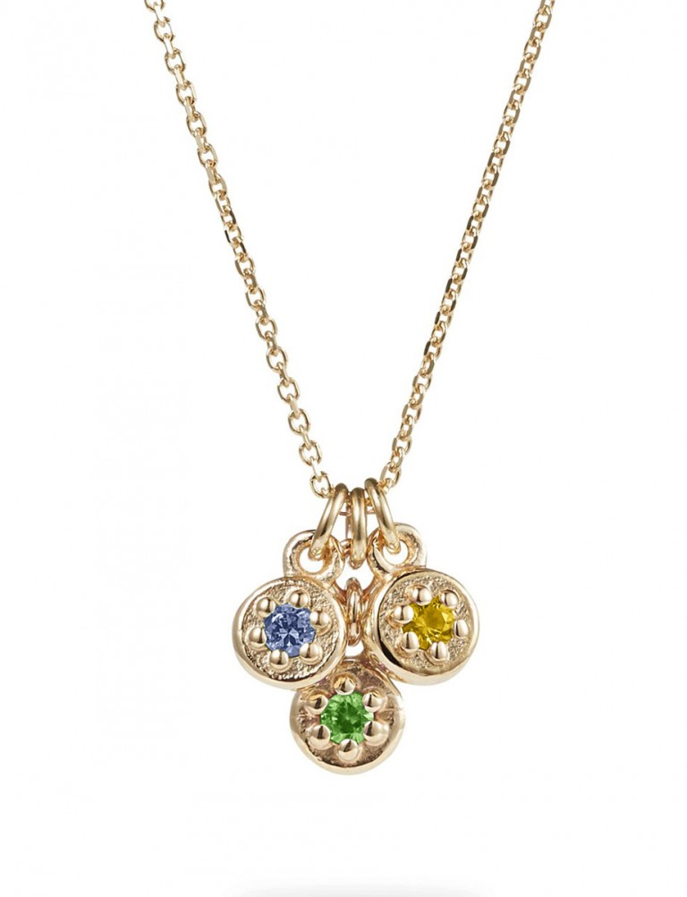 Triple Sapphire Poppy Rock Necklace – Yellow, Blue & Green