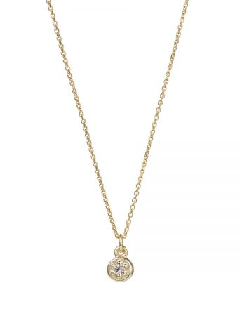 Poppy Rock White Sapphire Necklace - Yellow Gold