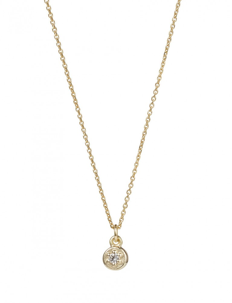 Poppy Rock White Sapphire Necklace – Yellow Gold