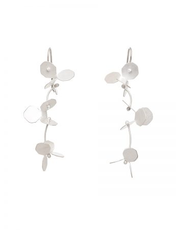 Small Hydrangea Earrings - Silver