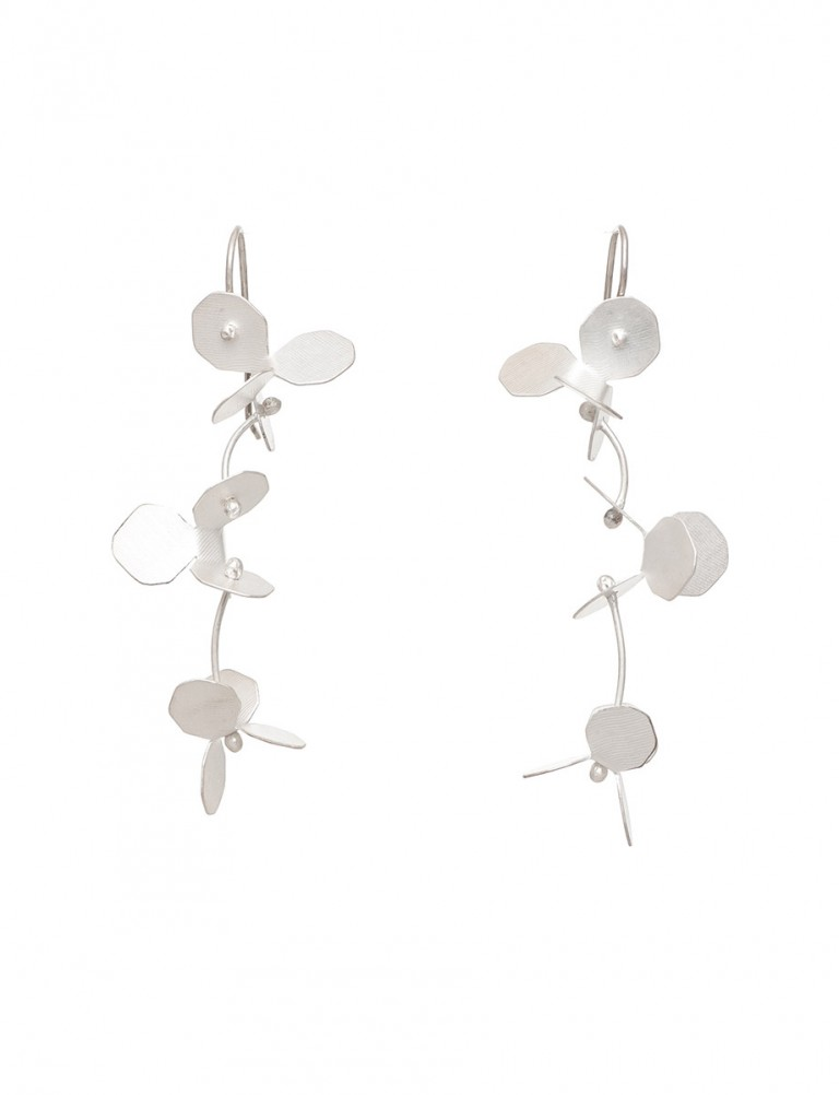 Small Hydrangea Earrings – Silver