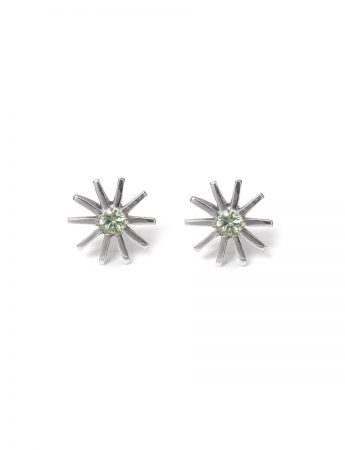 Small Radiant Star Earrings - Light Green Sapphire