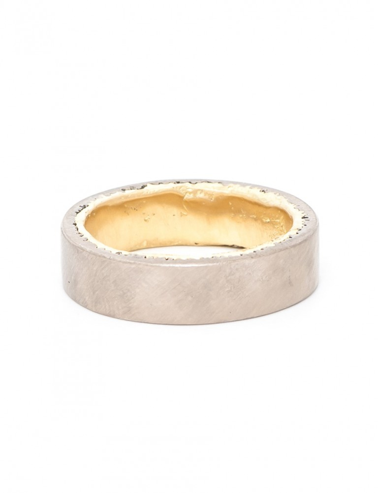 Twice Cast Wedding Ring – Yellow & White Gold