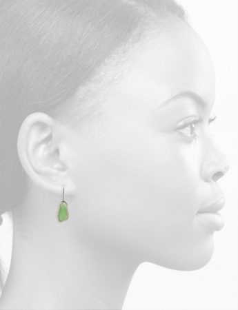 Asymmetrical Beach Glass Earrings – Sage Green