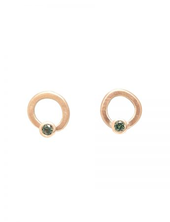 Assymetrical Halo Stud Earrings - Sapphire