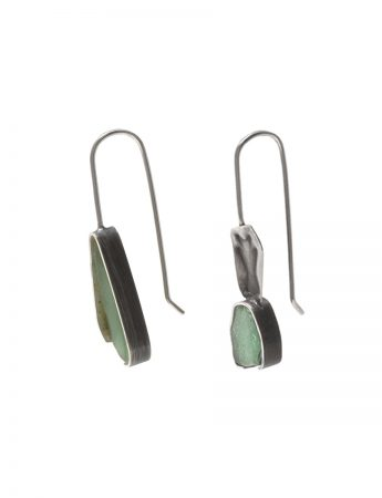 Asymmetrical Beach Glass Earrings - Sage Green
