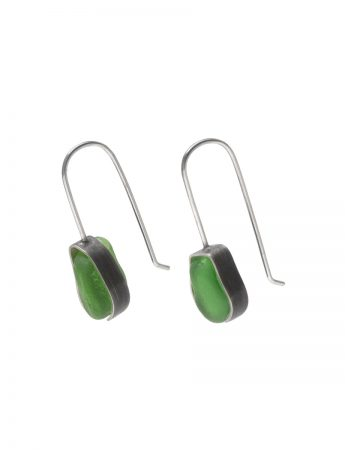 Beach Glass Earrings - Green