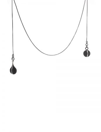 Black Orb & Teardrop X Lariat Wrap Necklace
