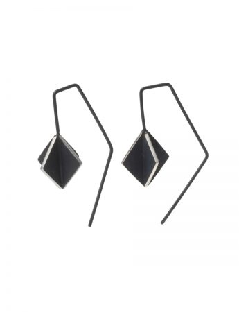 Black Cube X Short Hook Earrings