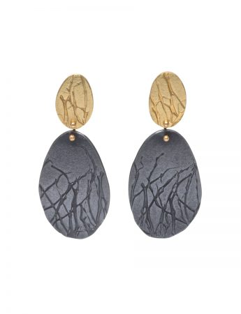 Branch Earrings - Black & Gold