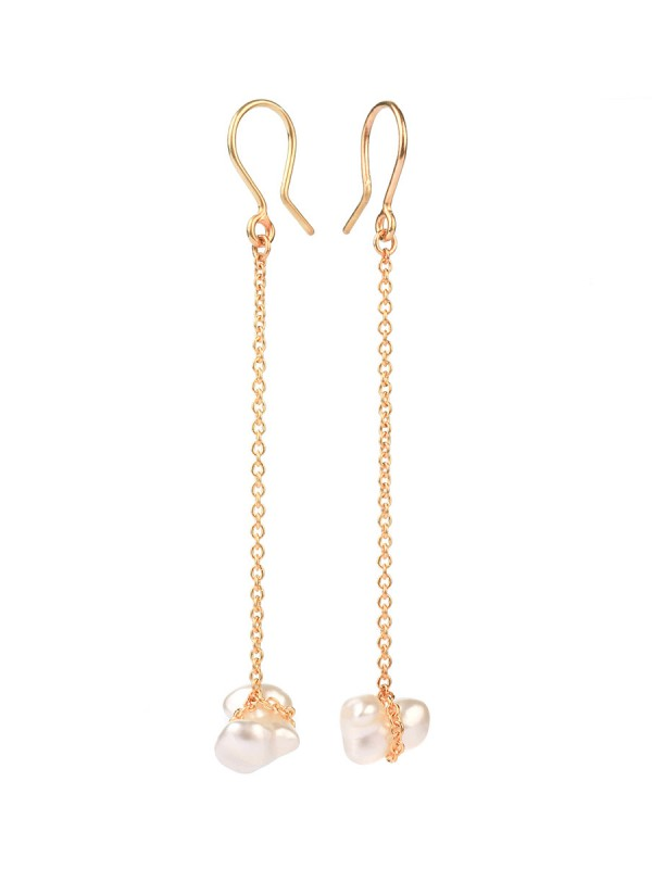 Chained South Sea Keshi Pearl Earrings – Gold