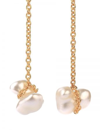 Chained South Sea Keshi Pearl Earrings - Gold
