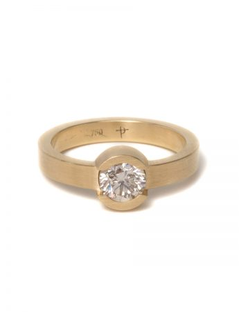 Circular Solitaire Ring - Gold & Diamond