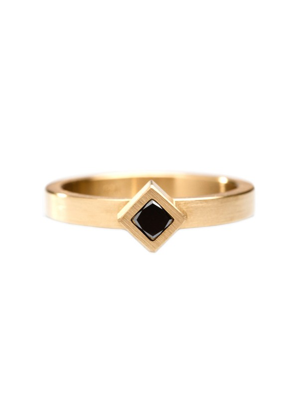Angled Black Diamond Cubist Ring – Yellow Gold