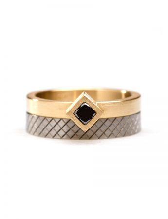 Angled Black Diamond Cubist Ring - Yellow Gold