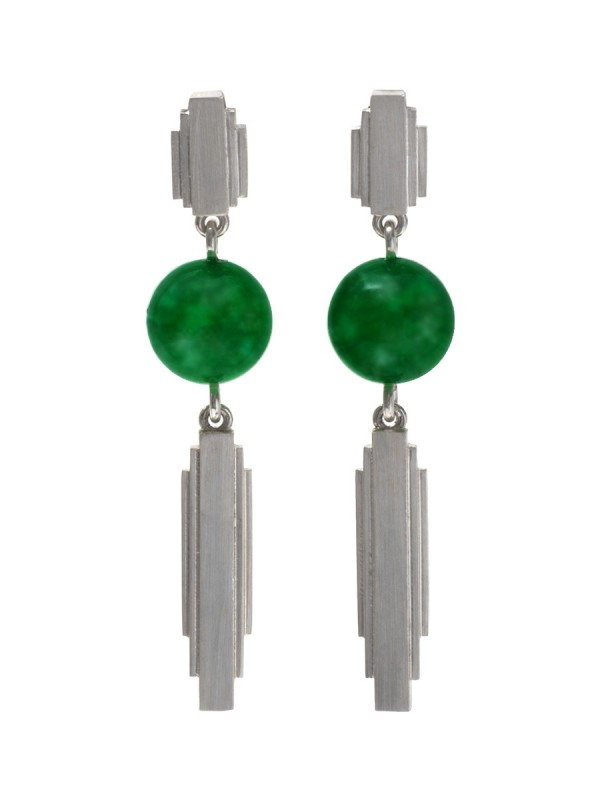 Empire State Drop Earrings – Green Jade