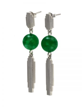 Empire State Drop Earrings - Green Jade