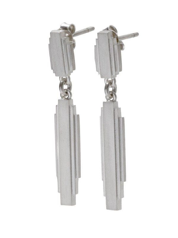 Empire State Drop Earrings – Silver