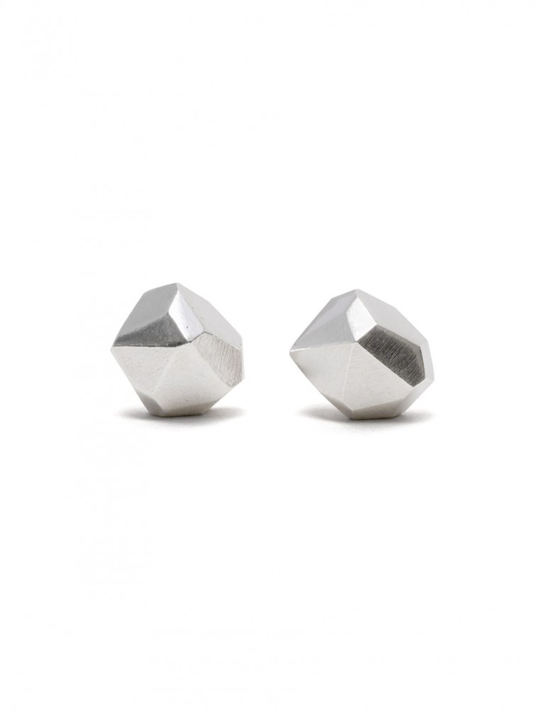 Silver Facet Stud Earrings – Large