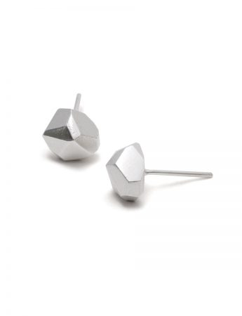 Silver Facet Stud Earrings - Large