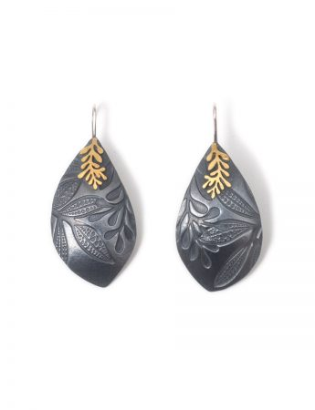 Leaf Imprint Earrings - Black & Gold