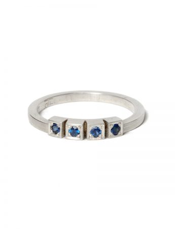 Four Sapphires Ring - White Gold