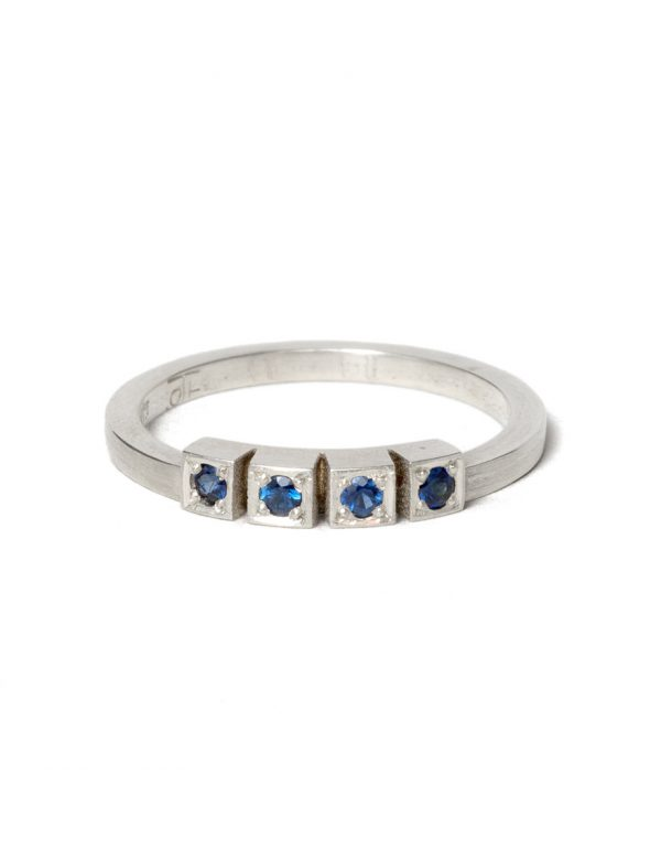 Four Sapphires Ring – White Gold