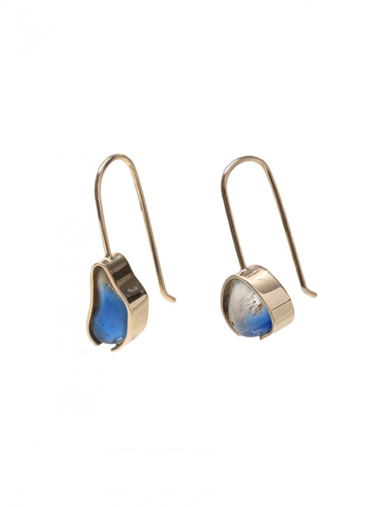 Gold Beach Glass Earrings – Bonfire Blue & White