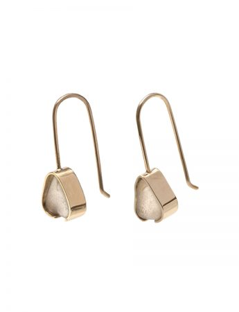 Gold Beach Glass Earrings - White