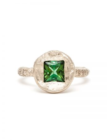 Golden Ring - Green Tourmaline & White Gold