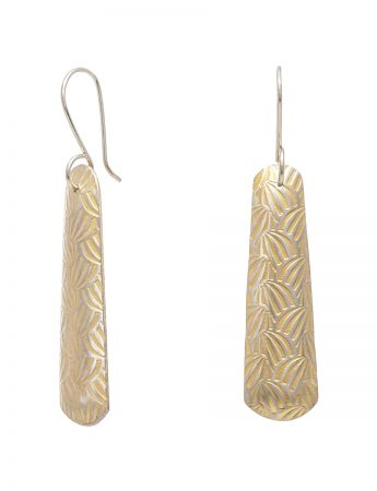 Long Japanese Print Earrings - Yellow Gold Plate