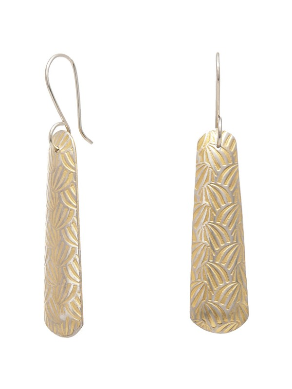 Long Japanese Print Earrings – Yellow Gold Plate