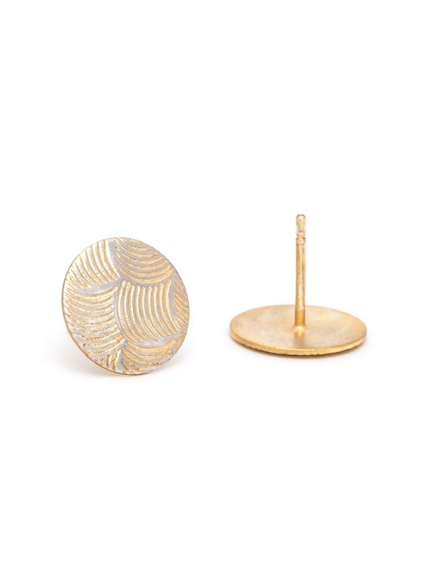 Japanese Wave Print Stud Earrings – Yellow Gold Plate