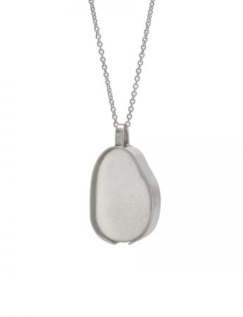 Large Beach Glass Necklace - Pale Aqua