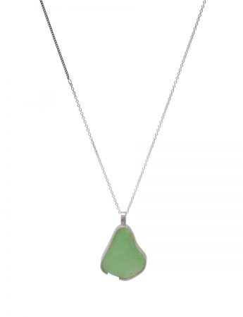 Large Beach Glass Necklace - Sage Green