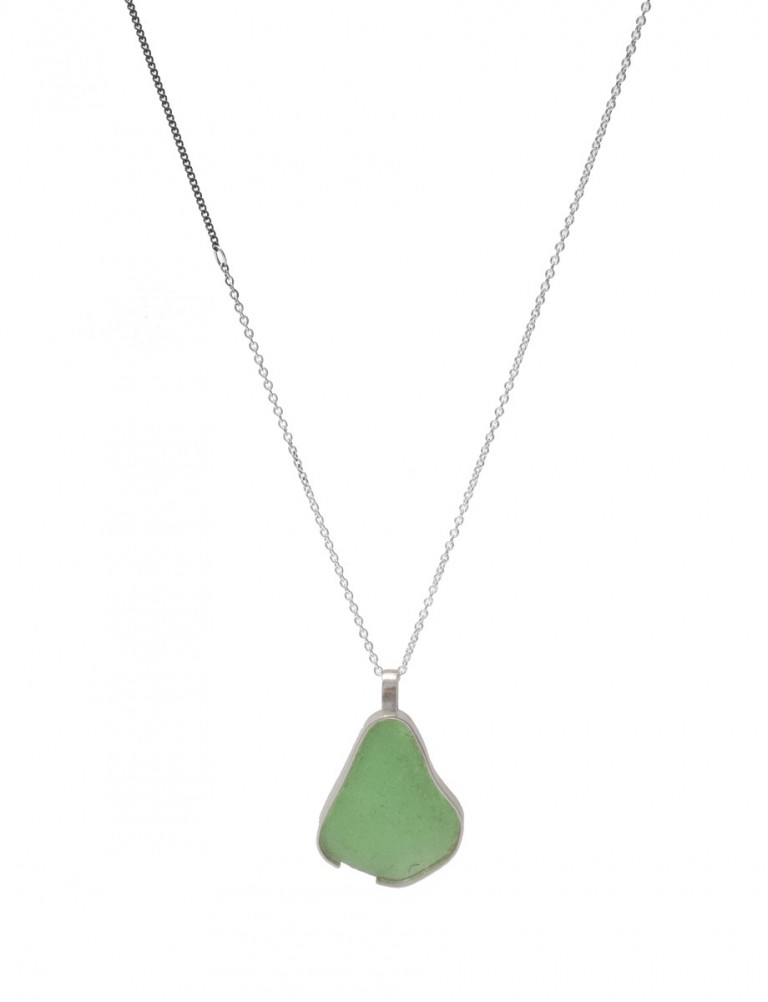 Large Beach Glass Necklace – Sage Green