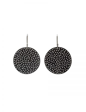 Large Perforated Disc Earrings - Black