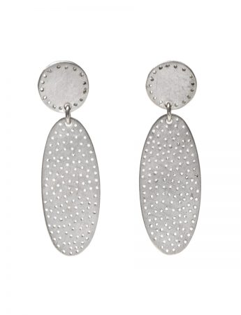 Large Perforated Ellipses Earrings - Silver
