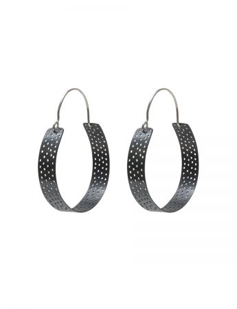 Large Perforated Hoop Earrings - Black