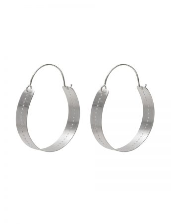 Large Perforated Hoop Earrings - Silver