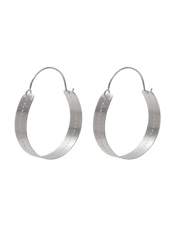 Large Perforated Hoop Earrings – Silver