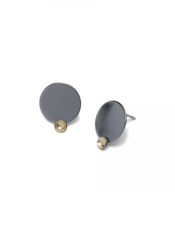 Gold Cup Stud Earrings - Black & Gold