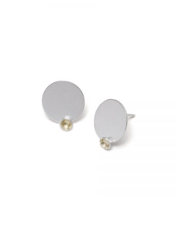 Gold Cup Stud Earrings - Silver & Gold