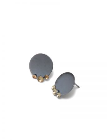 Three Gold Cup Stud Earrings - Black & Gold