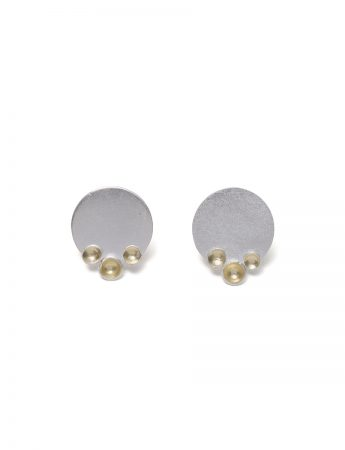 Three Gold Cup Stud Earrings - Silver & Gold
