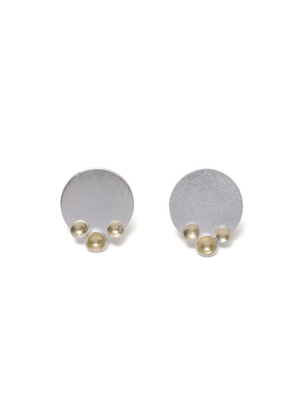 Three Gold Cup Stud Earrings – Silver & Gold