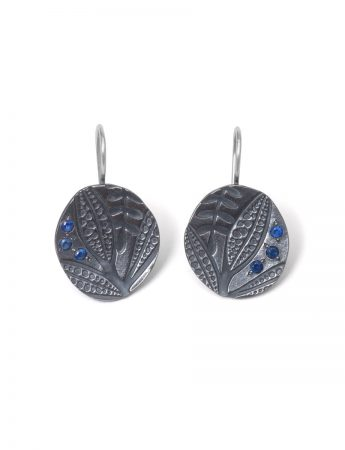 Black Leaf Imprint Hook Earrings - Sapphire